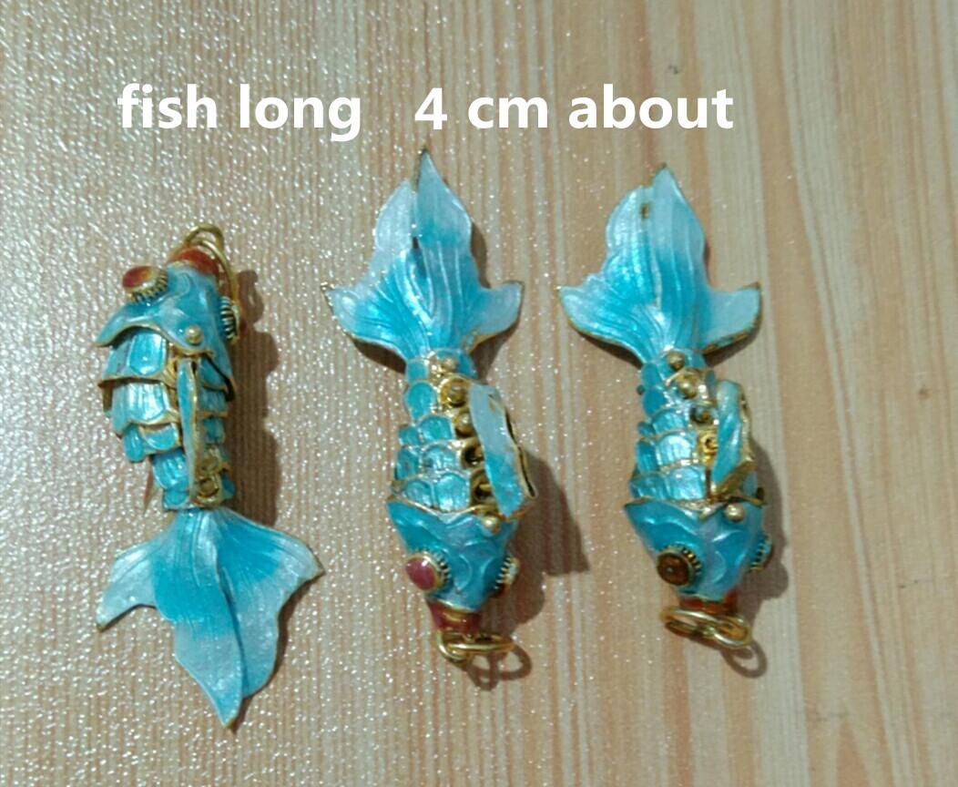 5pcs handcraft cloisonne filigrana fortunato pesce charms all'ingrosso smalto simpatico smalto vivido oscillazione orizzontale orizzontale pendente orecchini fai da te collana braccialetto gioielli per fare risultati