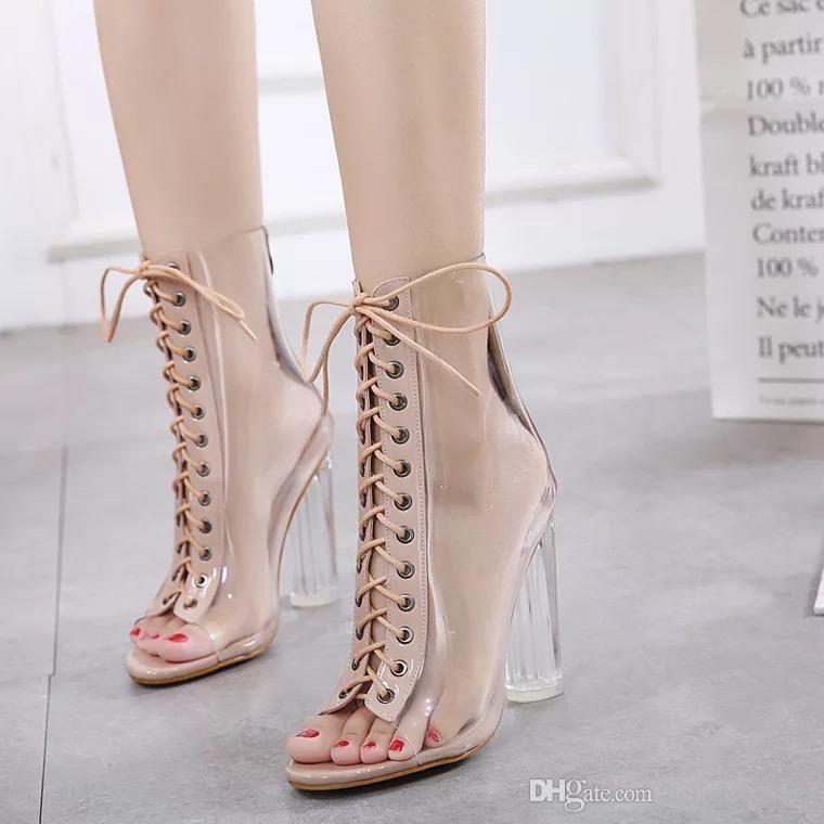Trasparente Traslucido 1 Open Trasparente Lace Up Peep Toe Stivaletto alla caviglia Perspex Block Heel con retro Zipper Dress Sandals
