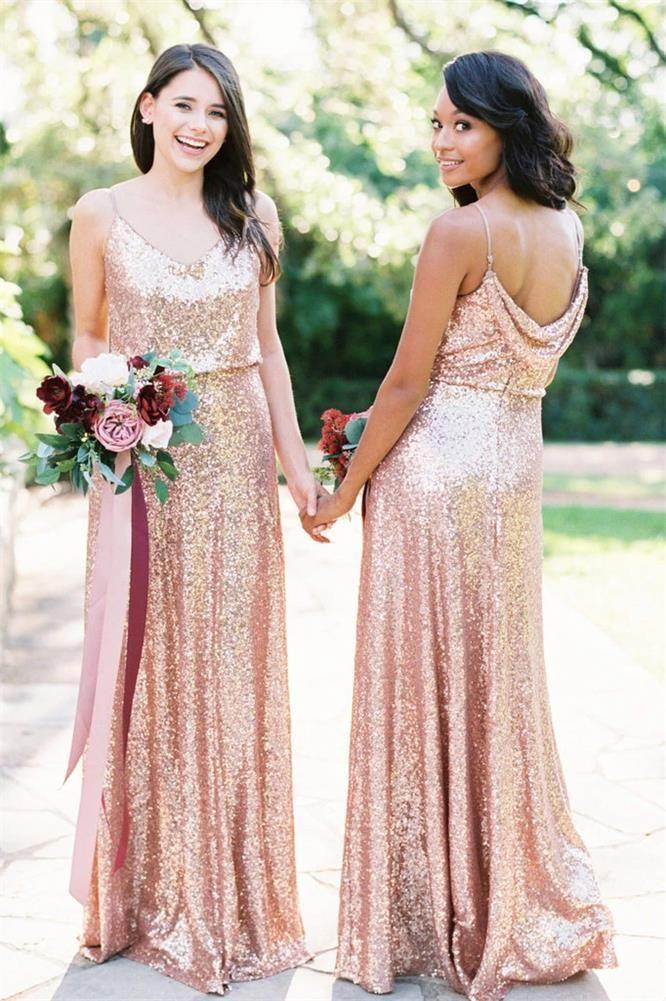 2021 새로운 장미 골드 스팽글 들러리 드레스 긴 스파게티 스트랩 카울 백 바닥 길이 공식 가운 웨딩 드레스 맞춤 제작