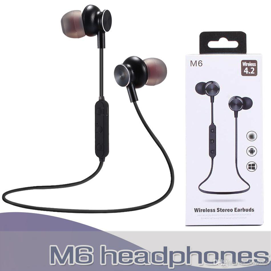 M6 Bluetooth Headphone Magnetic Wireless Sport Headset Earphones with Mic Stereo Handfree Earbuds For iPhone Huawei XiaoMi Phone