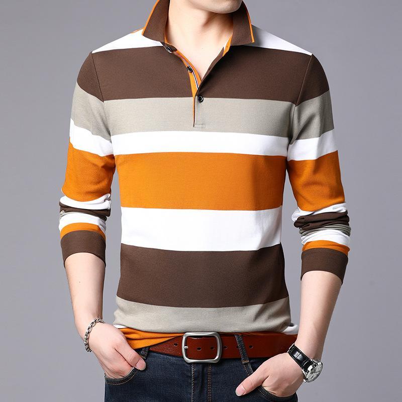 Полосатый дизайн Новый 2020 мужская брендовая рубашка с длинными рукавами мода весна осень одежда плюс Азиатский размер M-3XL 4XL 5XL