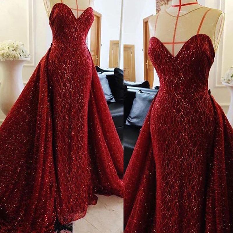 분리 기차 2020 쉬어 보석 목 빛나는 레이스 장식 조각 아랍어 댄스 파티 드레스와 반짝 부르고뉴 공주 저녁 선발 대회 드레스