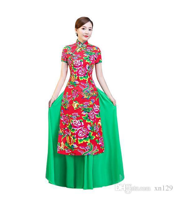 2019 Rojo Verde Chino Tradicional Mujeres Vintage Cheongsam Novedad Vestido Formal Chino Más Tamaño M L XL XXL 3XL 4XL 5XL