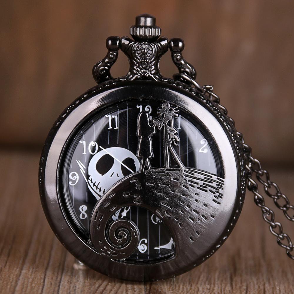 Кошмар Перед Рождеством Кварцевые Карманные Часы Античная Черная Сталь Мужчины Женщины Ожерелье Часы Подарки Брелок Часы