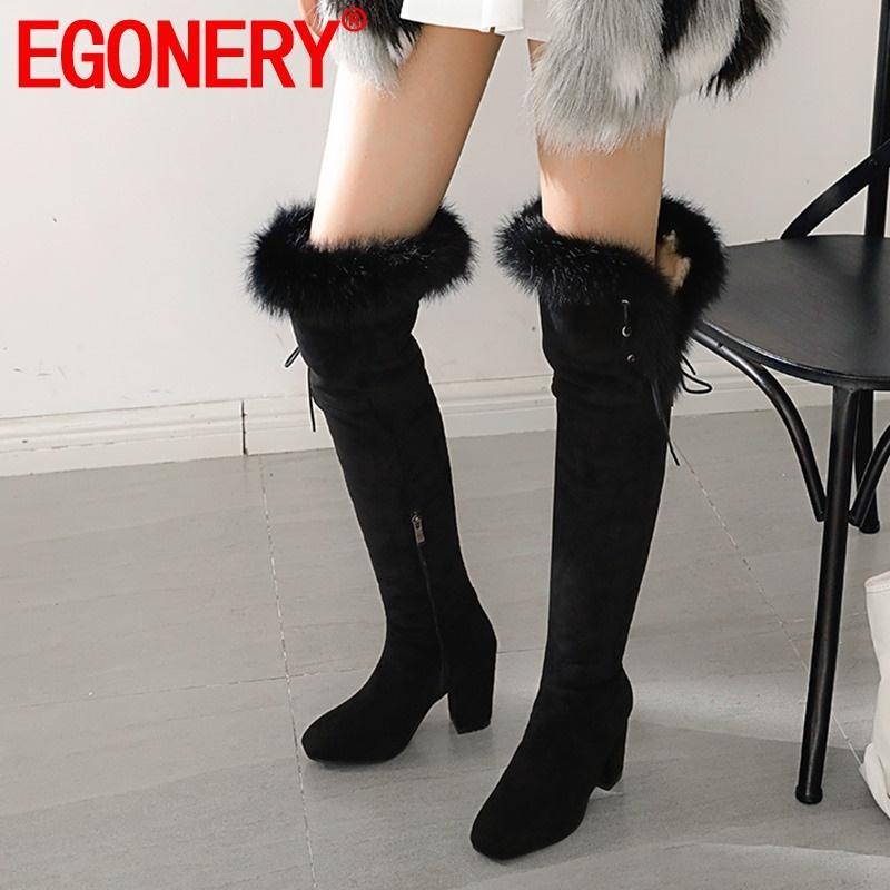 EGONERY inverno nova moda rebanho sobre o joelho botas fora de pelúcia saltos altos quentes dedo do pé quadrado plus size mulheres calçam o transporte da gota