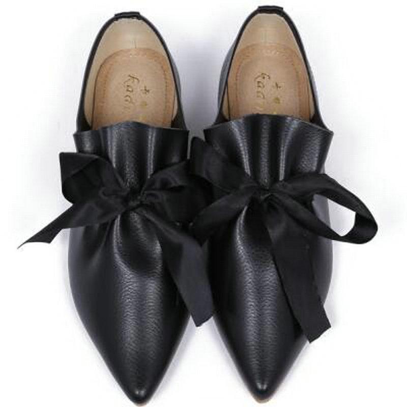 32-43 Espadrilles Chaussures Femme Européenne Célèbre Marque Dames Appartements Soie Bowknot Espadrilles Grand Bow Chaussures Pointu Toe Flats Chaussures