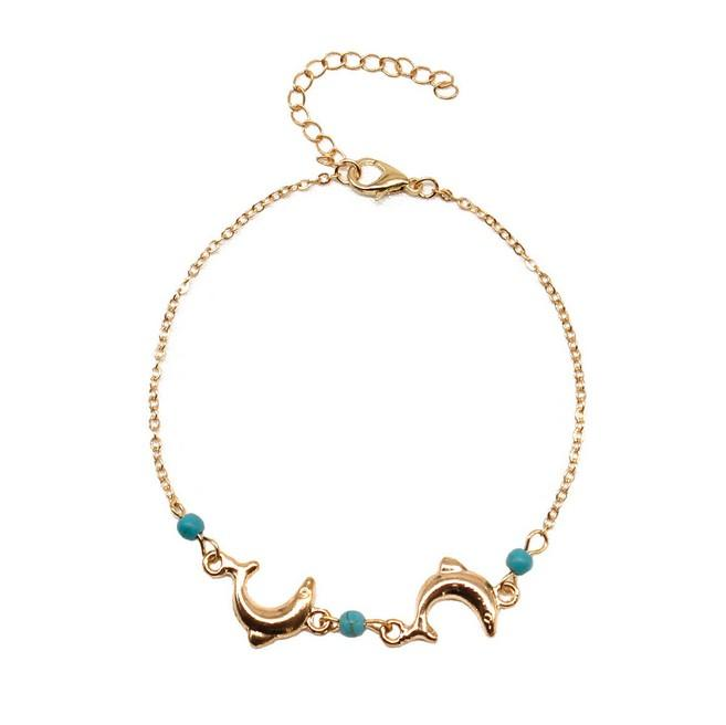 Cute Dolphin Womens Anklets Turquoise Pendant Charm Metal Anklet Bracelet Barefoot Sandals For Girls/Ladies ( Gold ,Silver)