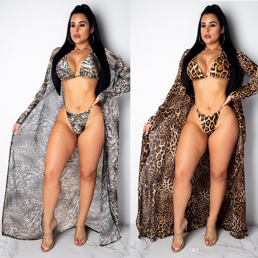 Maillot de bain fendu Bikini Split imprimé sexy léopard + maillots de bain maillots de bain pour femmes