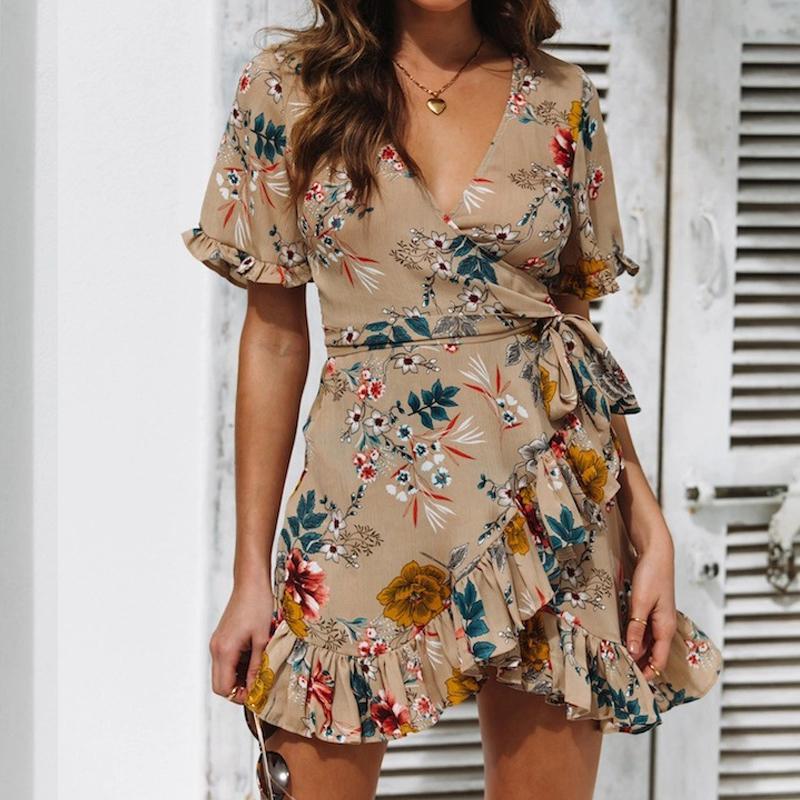 Estate mini boho sexy del vestito dalla cinghia stampato profondo scollo a V 2019 donne Vestido spiaggia abito corto alta vita sottile vestiti delle donne