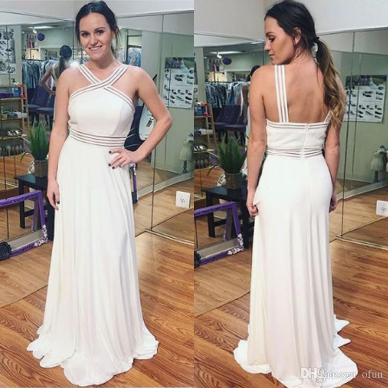 2019 Barato Elegante Cruz Pescoço Prom Vestido Branco A Linha Sweep Trem Chiffon Evening Party Dress