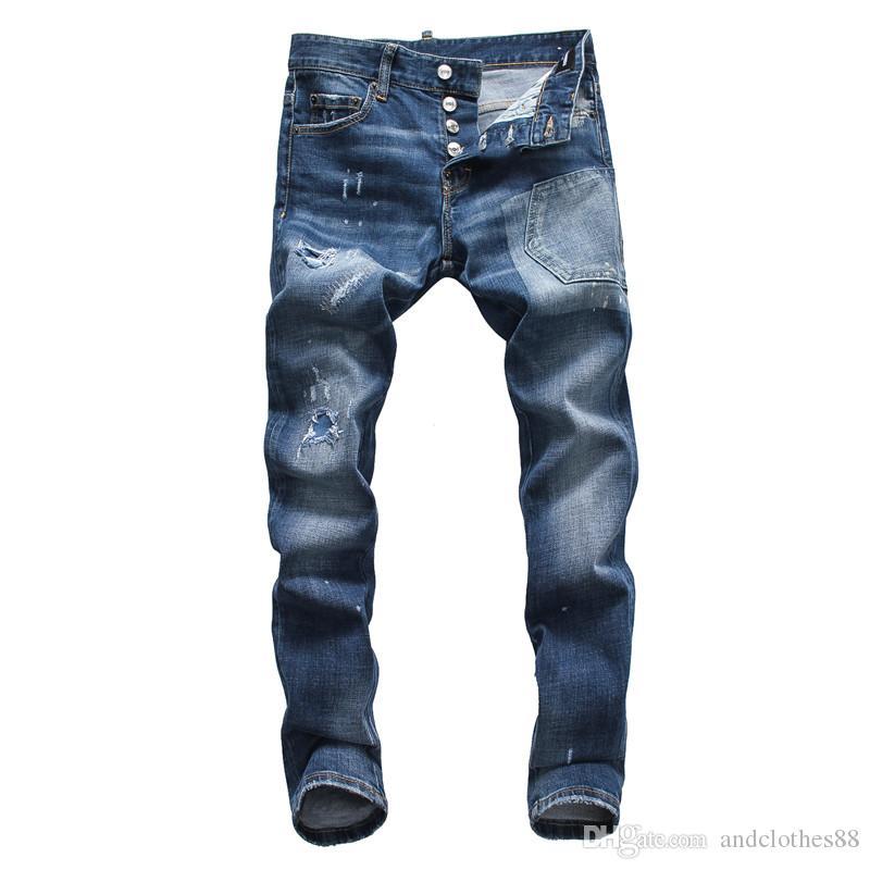 2020 hommes S Designer Jeans Fashion Designer Skinny Washed Denim Pantalons Motocycle Hip Hop Biker Cassettes Pantalons hommes jeans déchirés