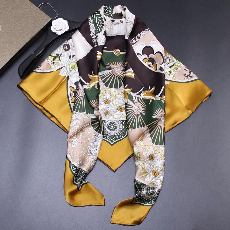 Mme luxe polyvalente foulards crêpe satin écharpe sergé impression fan soie magnifique nouvelles femmes 110cm grand châle carré