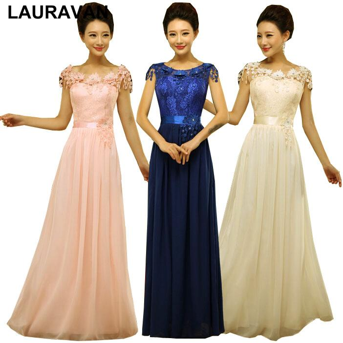 peach pink chiffon flower plus size bridesmaid blue lace semi formal bridesmaids party dresses chiffon lace up back