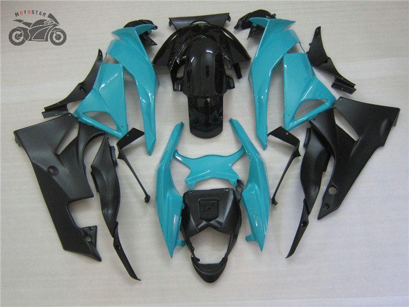 تخصيص مجموعات هدية لKAWASAKI NINJA ZX6R 09 10 11 ZX 6R 636 ZX6R 2009 2010 2011 ZX636 الزرقاء هيكل السيارة السوداء نفطة مجموعات