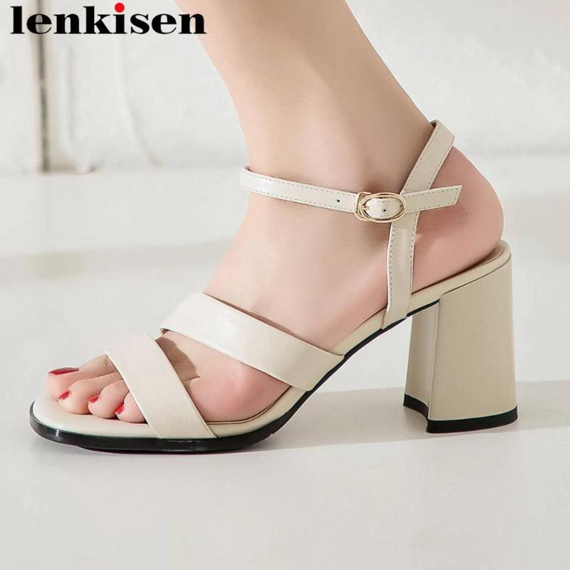 Lenkisen real cow leather thick high heels buckle strap women sandals peep square toe concise design summer gladiator shoes L02
