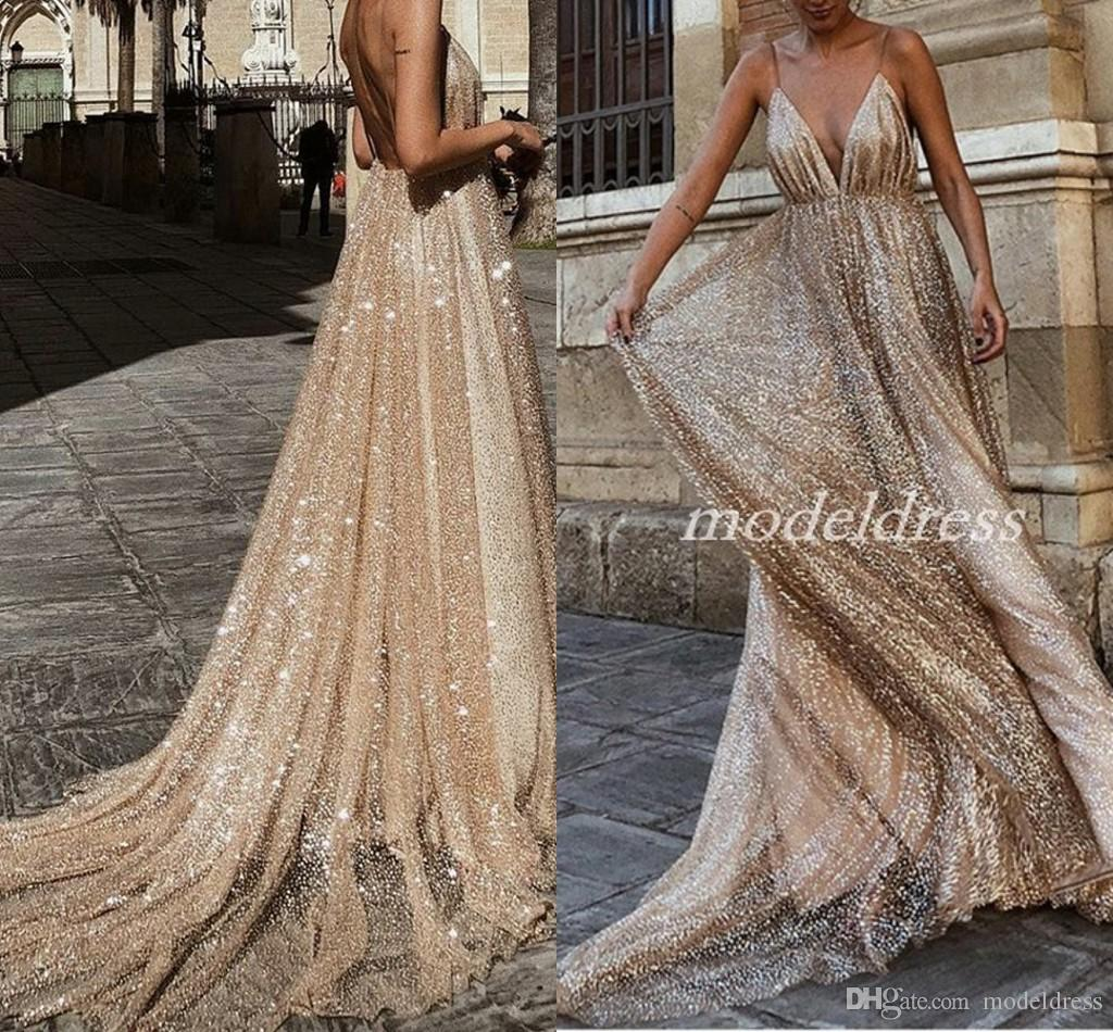 Sparkly Arabic Plunging Neckline Long Prom Evening Dresses 2019 Spaghetti Backless Sweep Train Sequined Formal Special Occasion Dress Cheap