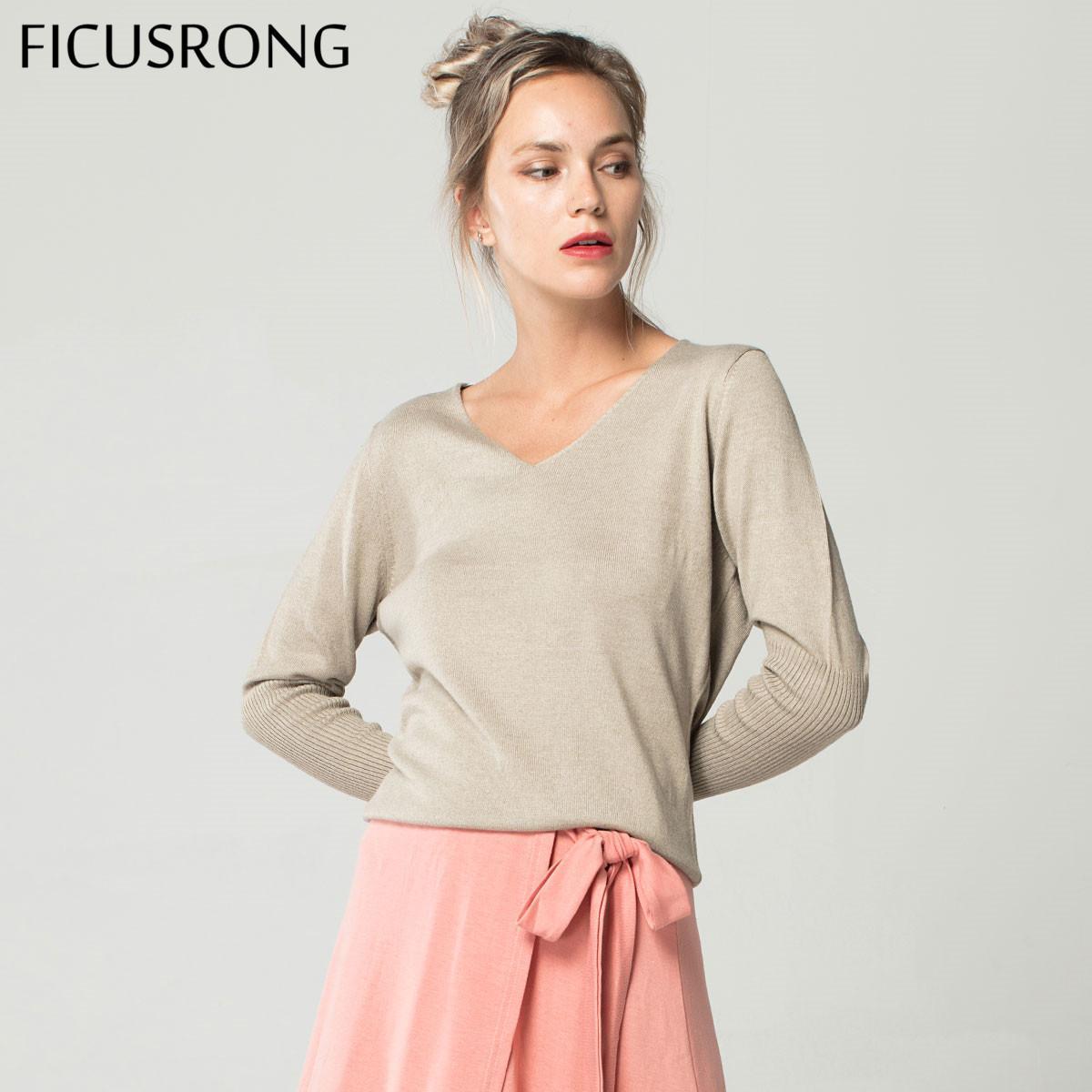 Frühling und Herbst Damen mit V-Ausschnitt Kaschmir-Pullover lose Art und Weise plus Größe 4XL Solidee Frauen Wolle Bitten Pullover Pullover FICUSRONG T200319