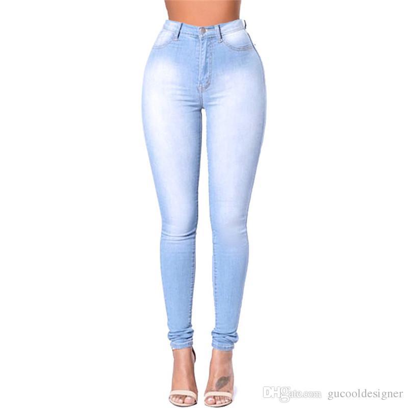 Compre Las Mujeres De Color Azul Claro Pantalones De Moda De Primavera Disenador De Cintura Alta Damas Pantalones Casual Slim Ropa Femenina Con Bolsillo A 17 52 Del Gucooldesigner Dhgate Com
