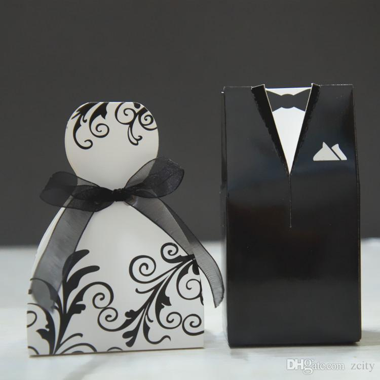 Small size cheap creative wedding faver box special design groom dress and bridal gown wedding candy box