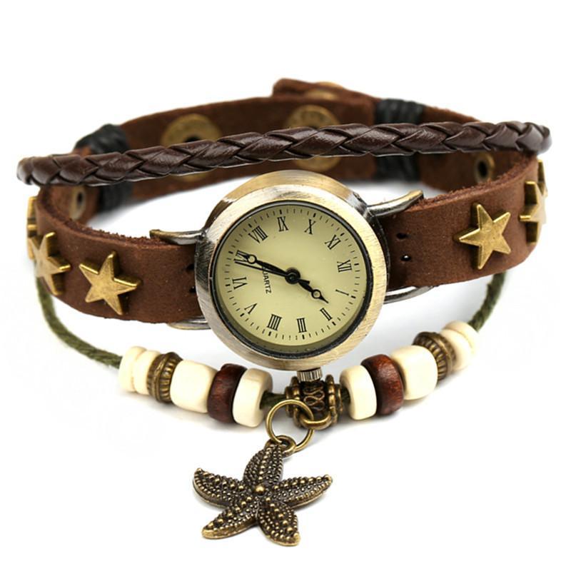 mode sauvage style simple bracelet de cuir étudiants montre bracelet en cuir rétro bijoux montre