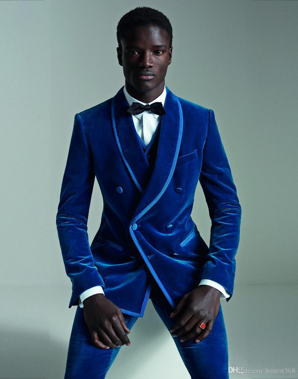 Bonito De Veludo Groomsmen Xaile Lapela Do Noivo Smoking Ternos Dos Homens de Casamento / Prom / Jantar Melhor Homem Blazer (Jacket + Pants + Tie + Vest) 117