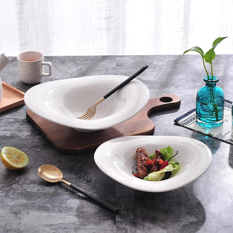 1PC 10INCH Dish Ramen Schüssel Dessert Dish kreative keramische Schüssel Reis Pure White Nudelsuppe Salatschüssel Geschirr
