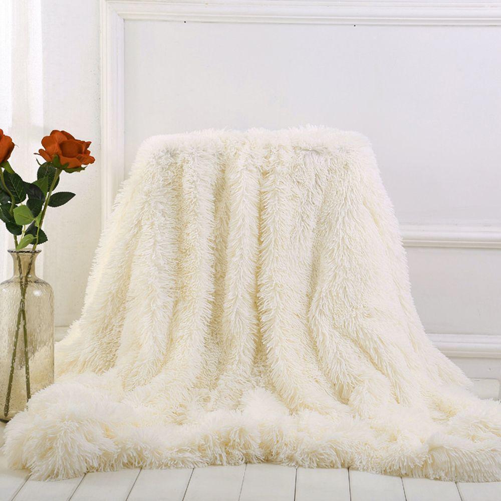 Bedding Sheet Bed Sofa Blanket Bright Color Long Shaggy Super Soft Bedspreads