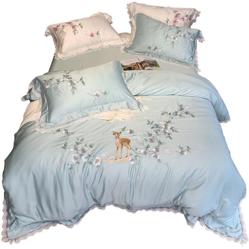100% Tencel re di lusso set di biancheria da letto Dimensioni Dreaming BeddingSets principessa Duvetcover cervo bianco del merletto del ricamo della regina seta Comforter Lenzuola