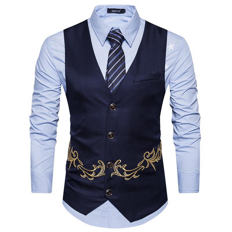 Vêtements pour hommes 2019 Nouveau Chalecos Para Hombre Broderie Mode Hommes Costume Gilet affaires Marque Casual Gilet Gilet Robe Gilet
