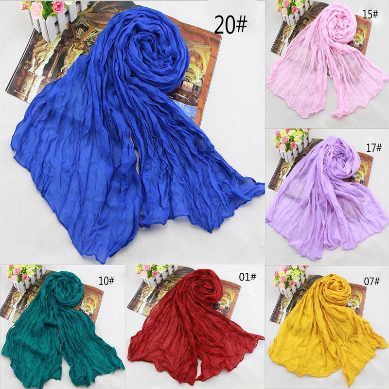 Hot Sale 2018 New Brand Fashion Cotton &Flax Blending Summer Scarf Women 180 *50cm Solid Long Women 'S Shawl Cachecol Wj002