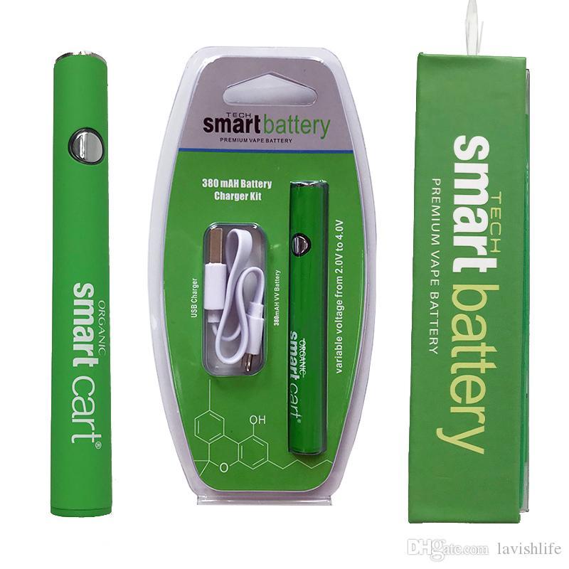 Carrito inteligente Batería Green Smart Carts 380mAh Precalentamiento VV Variable Batería de voltaje Fondo USB Cargador USB 510 Hilo Vape Batería
