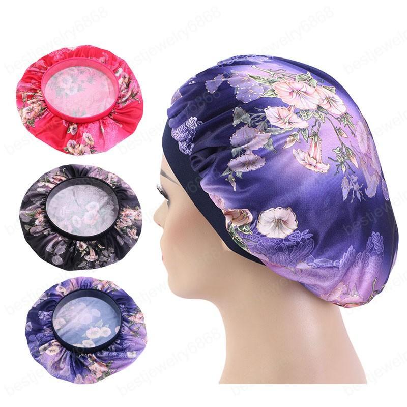 Yeni kadın Bant Saç Geniş baskı metalik İpeksi Bonnet Cap Yumuşak Gece Uyku Hat Bayanlar Turban Saç Şekillendirici Aksesuarları Caps