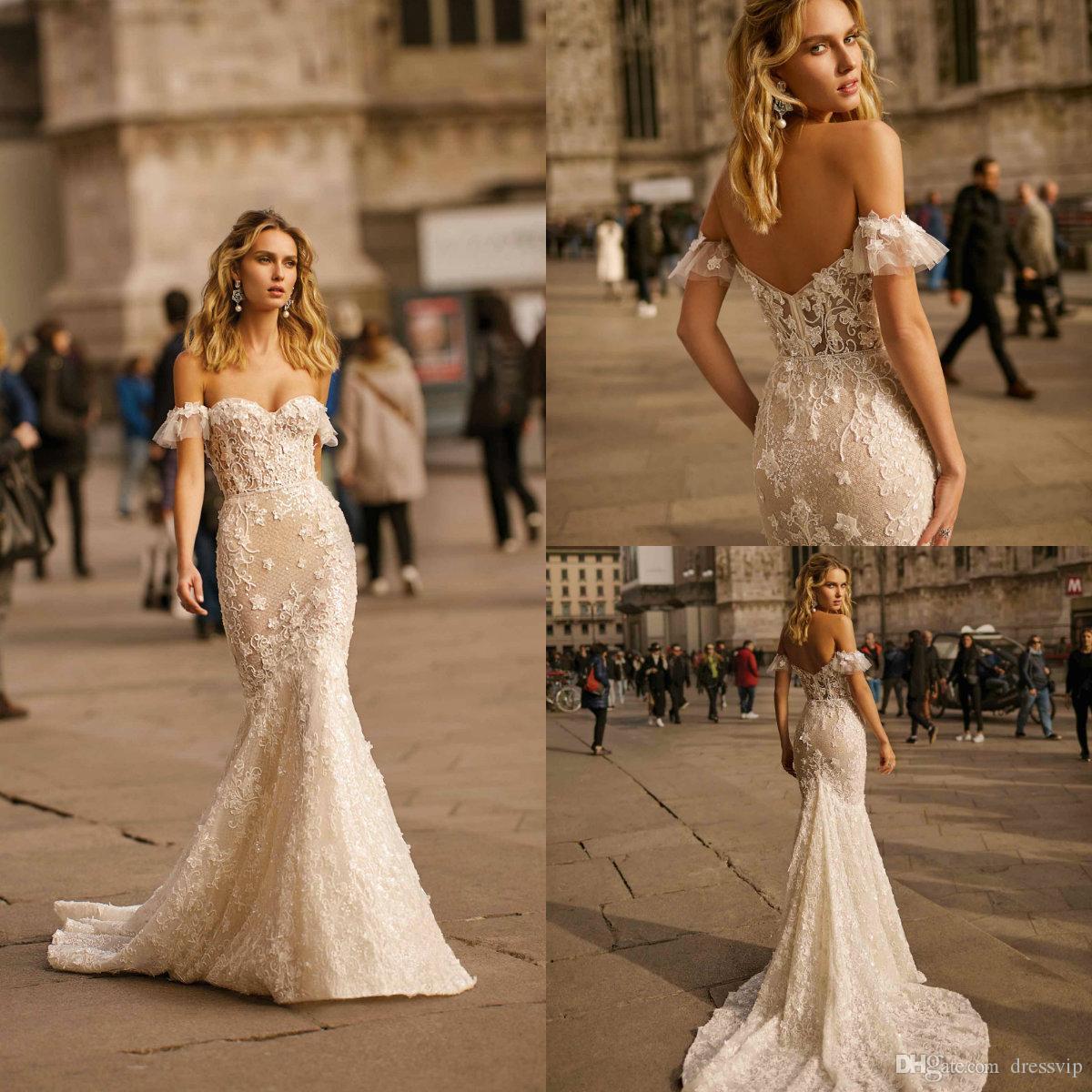 Sexy Mermaid Berta Wedding Dresses Off The Shoulder Lace Applique Bohemian Bridal Gowns Sweep Train Plus Size Vestidos De Novia 2020