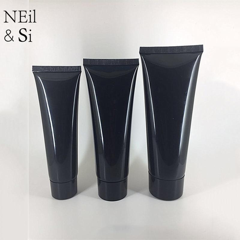 50ml 80ml 100ml Schwarz Kunststoff Squeeze-Flasche nachfüllbar kosmetische Gesichtsreiniger Creme Tube leer Shampoo Lotion Softflaschen