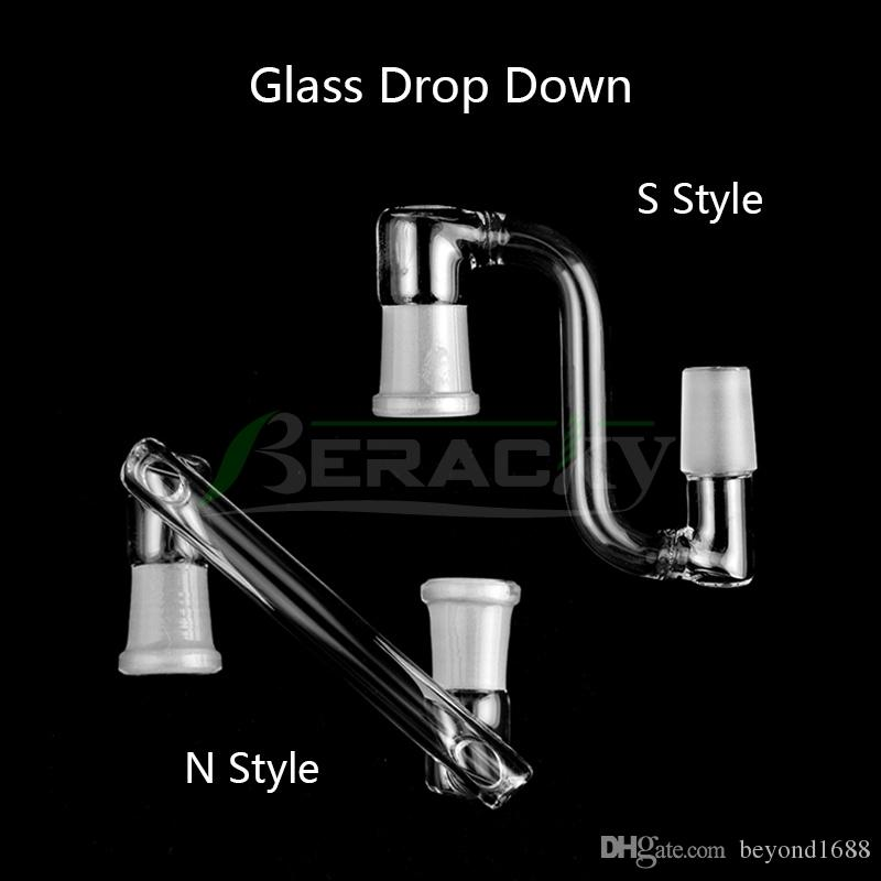 DHL !!! Adaptador desplegable de vidrio paralelo recto macho hembra 14 mm 18 mm adaptadores desplegables de vidrio para cuarzo banger plataformas petroleras bongs de agua de vidrio