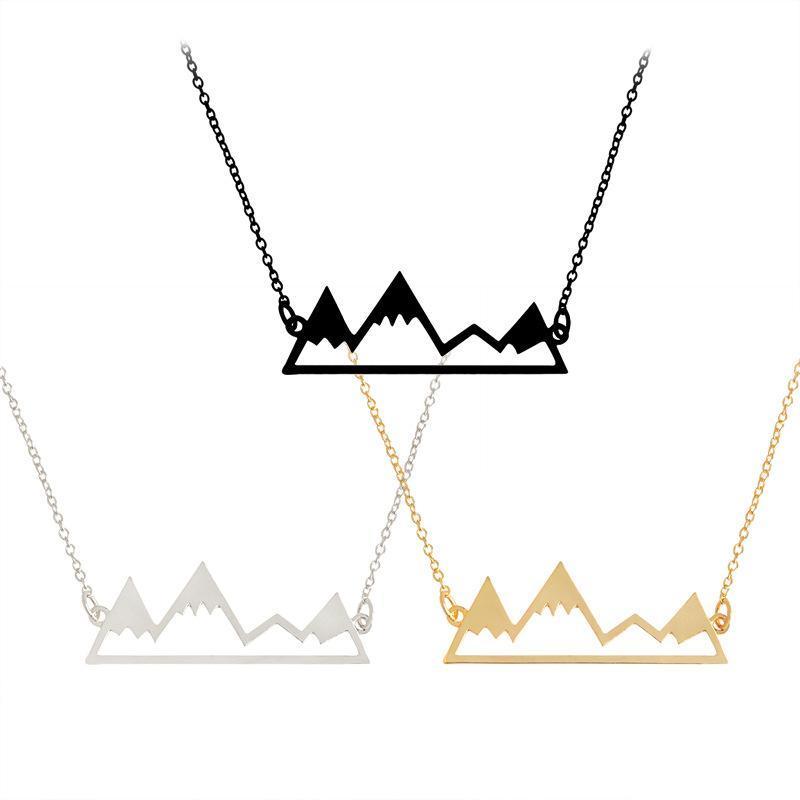 Dağ kolye tasarımcısı Minimal Birincilik kolye Karlı Dağ Doğa Yürüyüşü Açık Seyahat Takı Tırmanma Hediyeler 3 Renkler Zincirler Kolyeler