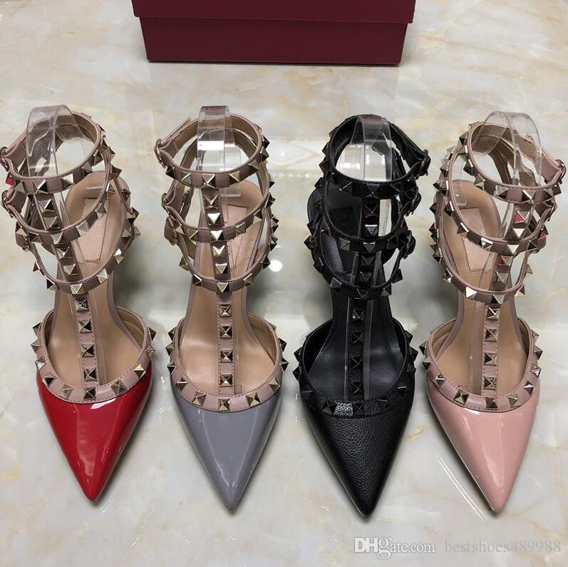 las mujeres del diseñador de alta talones de las sandalias del partido remaches manera muchachas acentuadas atractivas zapatos de baile zapatos de boda zapatos de tres correas de las sandalias