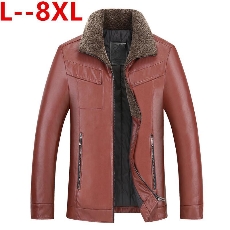 8X Мужские кожаные куртки зимы теплый флис пальто Толстые Верхняя одежда Zipper Мотоцикл Мужской PU Верхняя одежда Бизнес Winter Fur Jacket