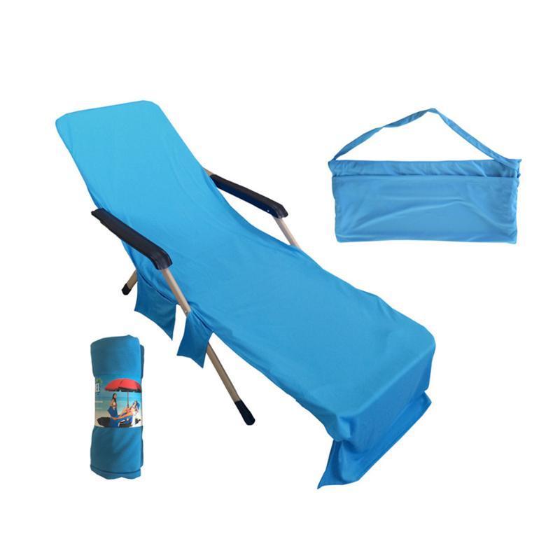 Portátil toalla de playa Silla de playa de la correa larga de cama cubierta de la silla de toallas con bolsillo para el verano piscina Sun al aire libre Actividades Jardín