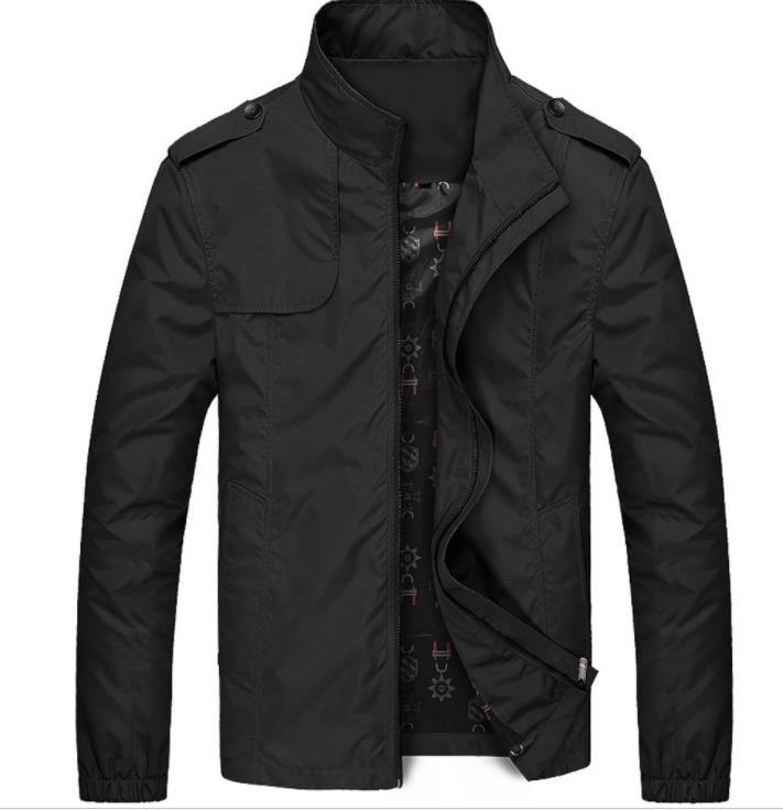 Mens Spring Autumn Solid Jacket Zipper Fly Coat Stand Collar Long Sleeve Cotton Jacket Mens Clothing