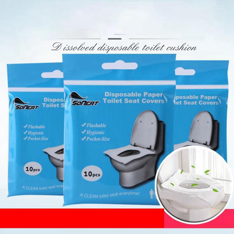 Одноразовая крышка сиденья для унитаза коврик портативный водонепроницаемый безопасности растворимая вода сиденье для унитаза коврик для путешествий отель ванная комната принадлежности OOA7906