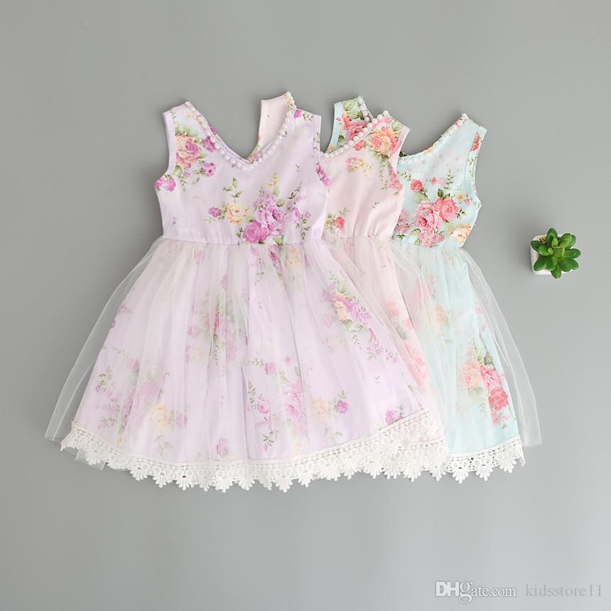 Baby Girls Broken Flower Lace Tutu Dress 2019 New Summer Dresses Childrens Sleeveless for Kids Clothing Party Dress 3 Colors