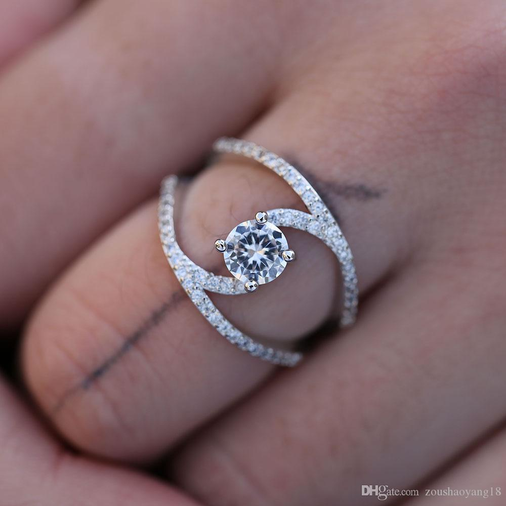 2020 Creative New Fashion Gorgeous Gorgeous Zircon Curve Ring Unique Design Simple Ladies Engagement Wedding Ring Sale From Zoushaoyang18 6 64 Dhgate Com