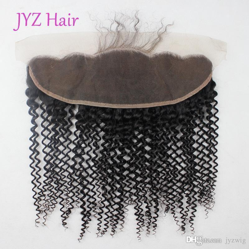 Malaysian Brazilian Peruvian Indian Mongolian Lace Frontal Closure Virgin Hair Kinky Curly 13x4 Natural Black Human Hair With Baby Hair