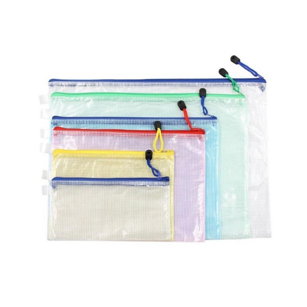 6 pezzi set A3 A4 A5 A6 B4 B5 Documento Borse di file, con zip impermeabile trasparente archiviazione Buste di plastica in PVC carta cartelle di file