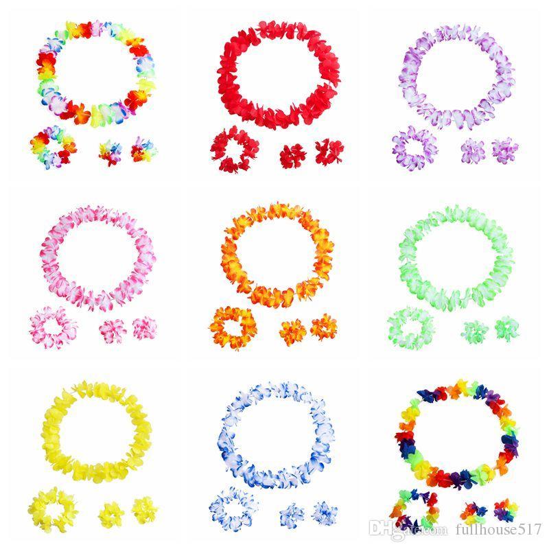 Flores coloridas havaianas Tropical Flor Garland Colar Pulseiras Headband set 4 pcs Tropical Beach Costume Party Decorações Suprimentos