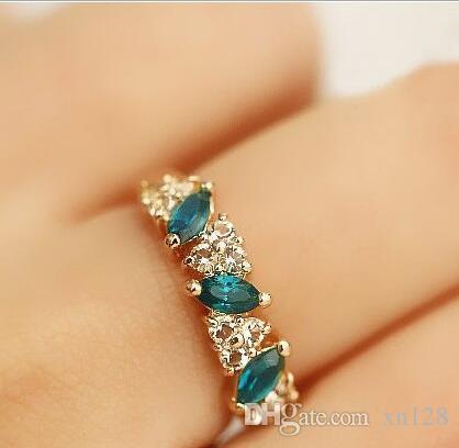Schmuck Großhandel Vintage Smaragd Ring Sweet Flash Diamant Ring weiblich