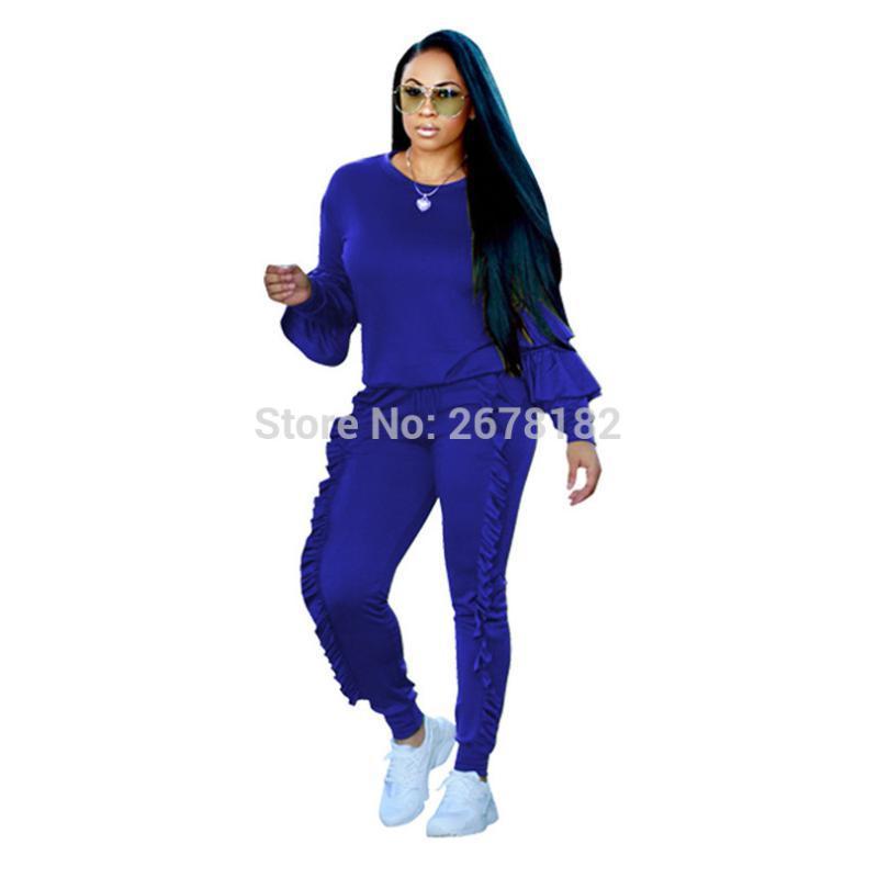 Amarillo / azul / púrpura / Negro Rojo / / atractivo / armygreen la manera del invierno del tamaño grande de las mujeres riza el conjunto de la manga las tapas de longitud completa juegos de pantalones S-3XL