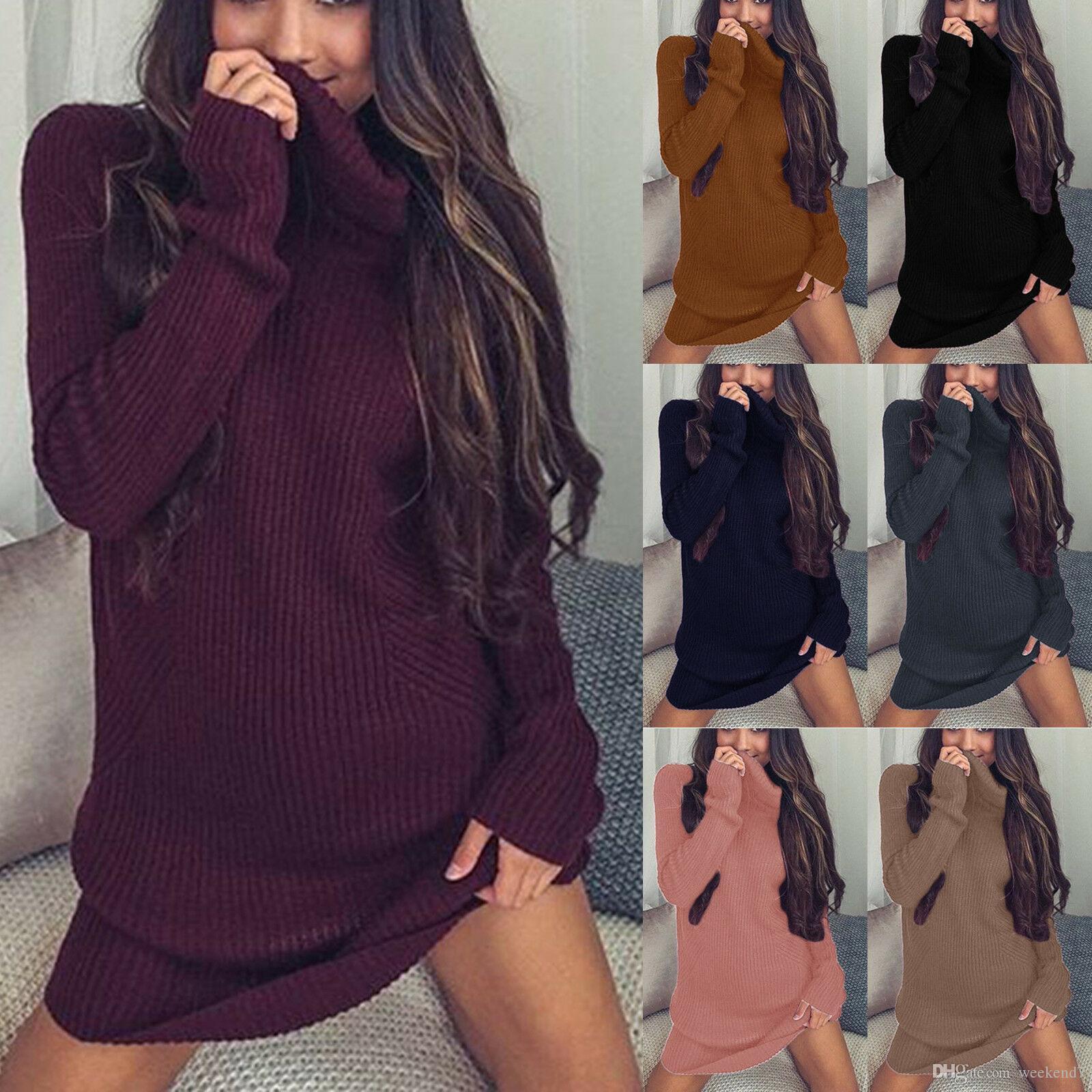 9 컬러 S-XL 여성의 폴로 롤 넥 케이블 니트 스웨터 긴 소매 점퍼 미니 드레스 53248478748764