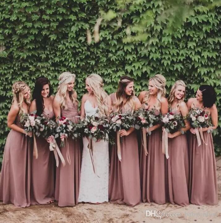 Hot Sell 2019 Dusty Rose Country Chiffon Bridesmaids Dresses A Line Sweetheart Pleats Long Maid of Honor Gowns Custom Made BM0149